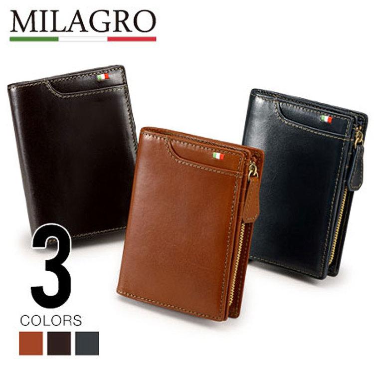 財布 二つ折り 二つ折り財布 折り財布 小銭 コインケース コイン イタリアンレザー 革 皮 本革 レザー Milagro ミラグロ